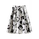 Gray High Waist Character Print Midi Skirt