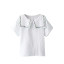 White Short Sleeve Embroidered Oversized Lapel Blouse
