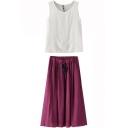 White Round Neck Tank with Purple Drawstring Waist Skirt