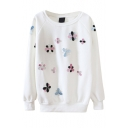 Round Neck Beaded Floral Long Sleeve Sweatshirt