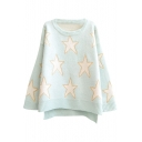 Gold Thread Star Pattern Step Hem Round Neck Long Sleeve Sweater