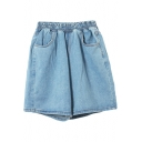Plain High Elastic Waist Cuffed Denim Shorts