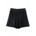 Navy Plain Elastic Waist Cotton Pleated Shorts