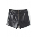 Black Cool PU Shorts with Zipper&Pockets