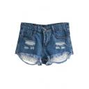 Dark Blue Distressed Detail Lace Hem Denim Shorts