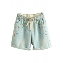 Light Blue Flora Embroidered Drawstring Waist Denim Shorts