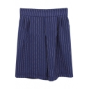 Vertical Stripe High Waist Wide Leg Shorts
