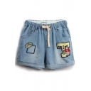 Sky Blue Cartoon Bear Appliques Denim Shorts