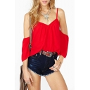 Red V-Neck Cold Shoulder Chiffon Blouse