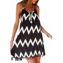 White Curve Pattern Black Slip Chiffon Dress with Tassel Hem