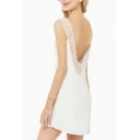 White Backless Cutout Trim Detail Round Neck Dress