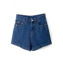 Blue High Waist Vintage Roll Cuff Denim Shorts