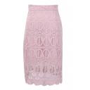 Pink Fashion Lace Cutout Office Lady Pencil Skirt