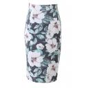 Green Flower Print High Waist Pencil Skirt