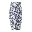 Black Background White Leaves High Waist Pencil Skirt