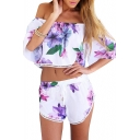 Floral Print Off The Shoulder Crop Top with Drawstring Shorts