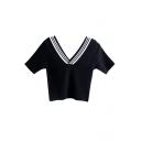 Navy Style V-Neck Stripe Short Sleeve Knitting Sweater