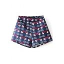 Cartoon Character Print Elastic High Waist Loose Shorts