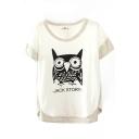 White Short Sleeve Cartoon Owl Print Contrast Trim T-Shirt