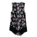 Black Floral Print Sleeveless Open Front Tassel Vest