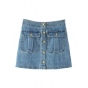 Button Fly Double Pockets A-line Denim Street Style Skirt