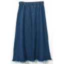 Dark Blue Elastic Waist Cut Off A-Line Denim Skirt