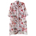 White Half Sleeve Floral Print Sheer Tunic Shirt