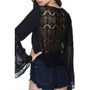 Black Scoop Sheer Lace Back Long Sleeve Top