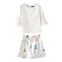 White Plain 3/4 Sleeve Top with High Waist Print Skirt