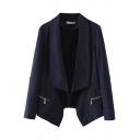 Plain Oversize Lapel Collar Zippered Pockets Open Front Blazer