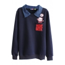 Lapel Cartoon Panda and Letter Print Long Sleeve Sweatshirt with Pocket Front