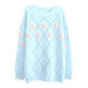 Plaid Jacquard Floral Embroidered Beaded Round Neck Long Sleeve Sweater