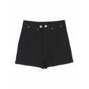 Hot Plain High Waist Denim Shorts with Button Details