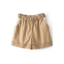 Khaki Ethnic Embroidered Elastic Waist Shorts