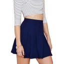Navy Concise High Waist Skater Skirt