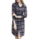 Plaid Print Lapel 3/4 Sleeve Double Pocket Shirt Dress