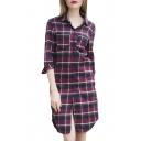Red Plaid Lapel 3/4 Sleeve Double Pocket Shirt Dress