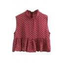 Red Polka Dot Sleeveless Stand Collar Ruffled Blouse
