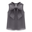 Gray Plain Sleeveless Bow Tie Front Organza Blouse