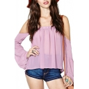 Purple Off The Shoulder Long Sleeve Loose Blouse