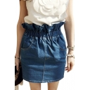 High Ruffle Waist Denim Bodycon Skirt