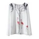 White Long Sleeve Flamingo Tree Print Blouse