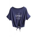 Character Letter Print Short Sleeve Knotted Crop Tee