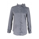 Gray Long Sleeve Bow Tie High Collar Shirt