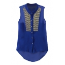 Blue Stand-Up Collar Rivet Sleeveless High Low Hem Blouse