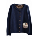Preppy Look Vintage Embroidered Cloth Panel Round Neck Cardigan