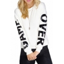 White Background Game Over Print Round Neck Long Sleeve Sweatshirt