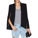 Plain Split Sleeve Unique Style Open-front Lapel Blazer