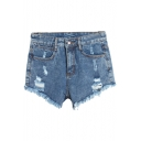 Distressed Light Wash Zipper Fly Denim Shorts