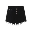 Plain High Waist Cut Off Hem Denim Shorts with Button Details
